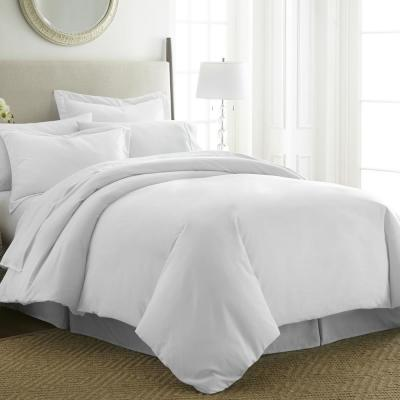 Performance White Queen 3-Piece Duvet Cover Set