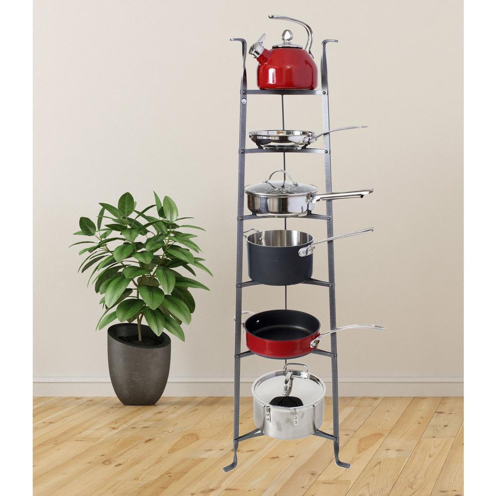 Handcrafted 6-Tier Gourmet Cookware Stand Hammered Steel