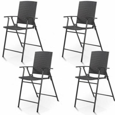Folding Rattan Wicker Outdoor Bar Stool Chair Indoor and Outdoor Furniture in Brown (4-Pack)