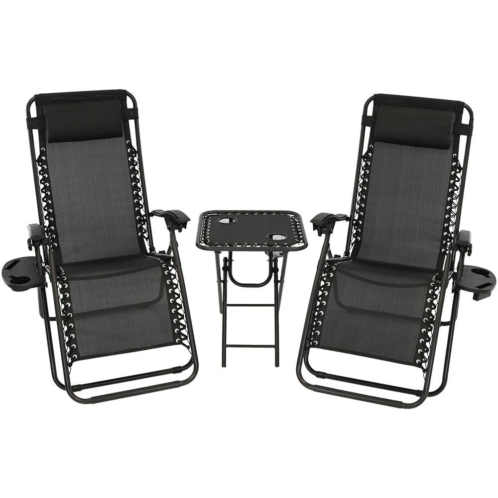 Zero Gravity Black Sling Beach Chairs with Side Table (Set of