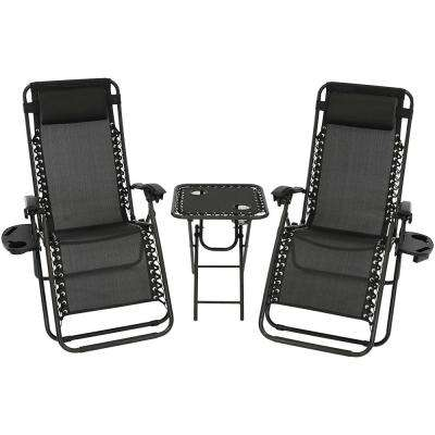 Zero Gravity Black Sling Beach Chairs with Side Table (Set of 2)