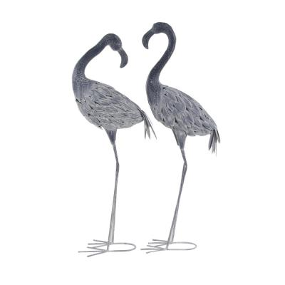 Traditional 40 and 41 inch Gray Iron Flamingo Garden Statues, Set of 2