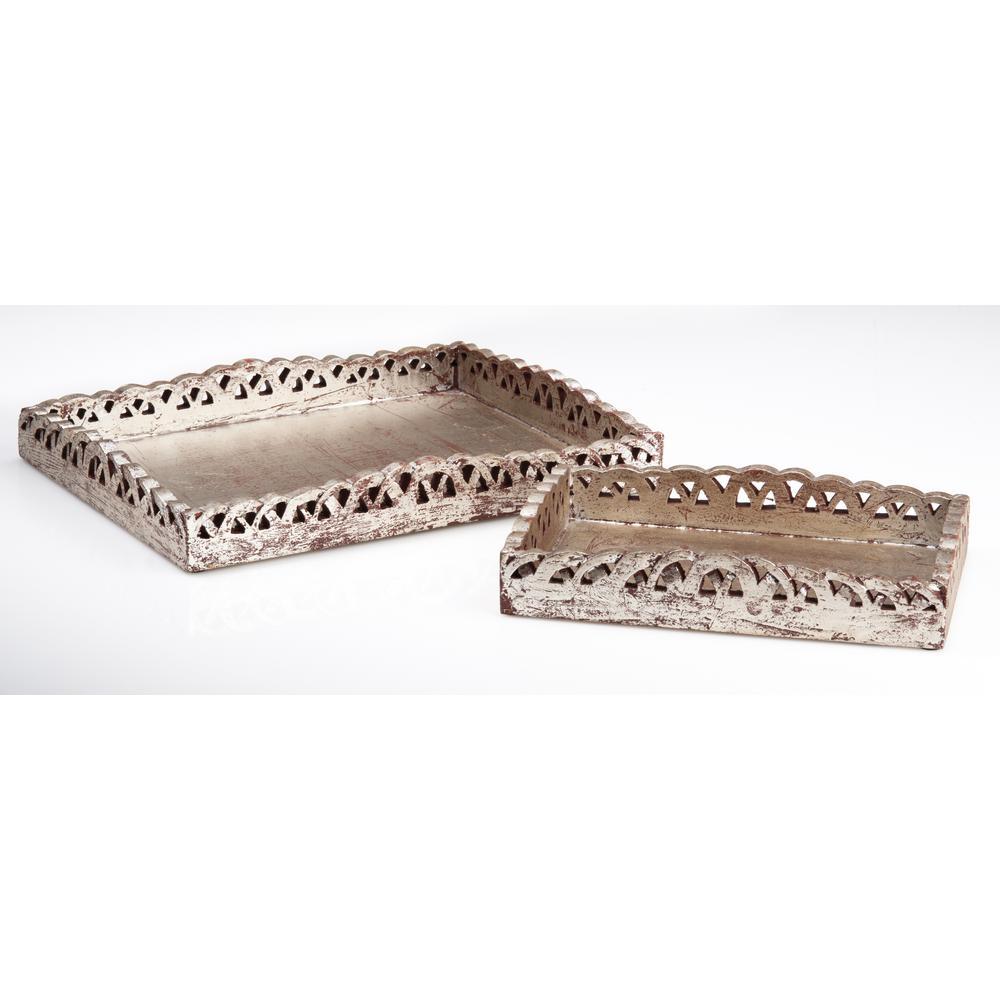Abigails Silver Wood Decorative Tray (Set of 2)