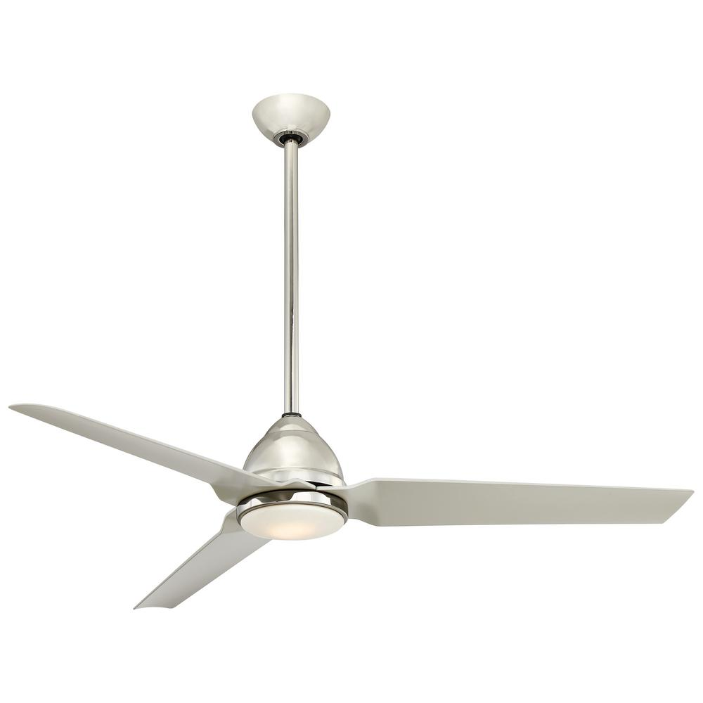 Minka-Aire Java 54 in. Integrated LED Indoor Polished Nickel Ceiling Fan with Light and Remote Control