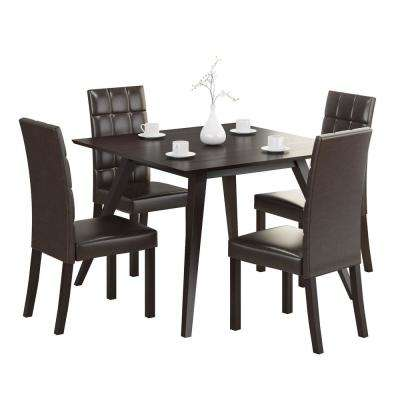 Atwood 5-Piece Dining Set with Dark Brown Leatherette Chairs