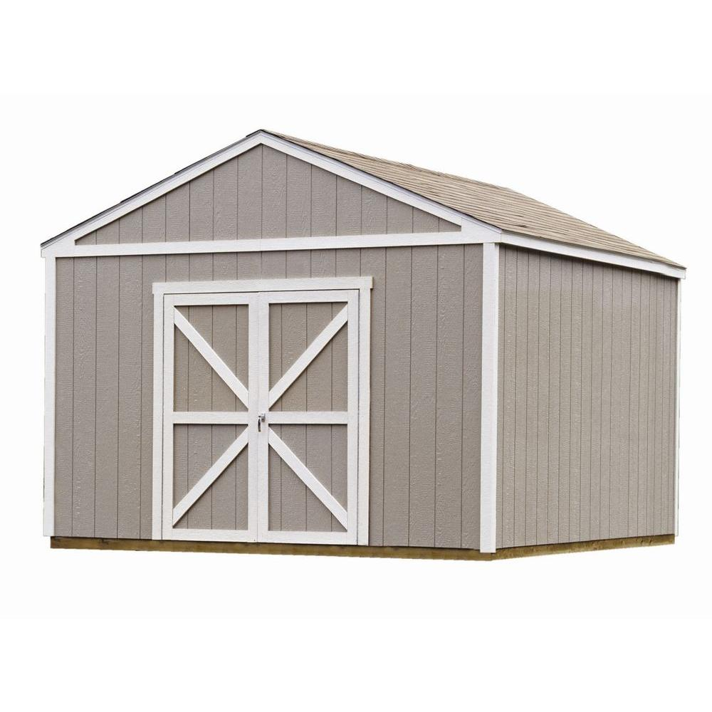 Handy Home Products Columbia 12 ft. x 12 ft. Wood Storage Building Kit with Floor
