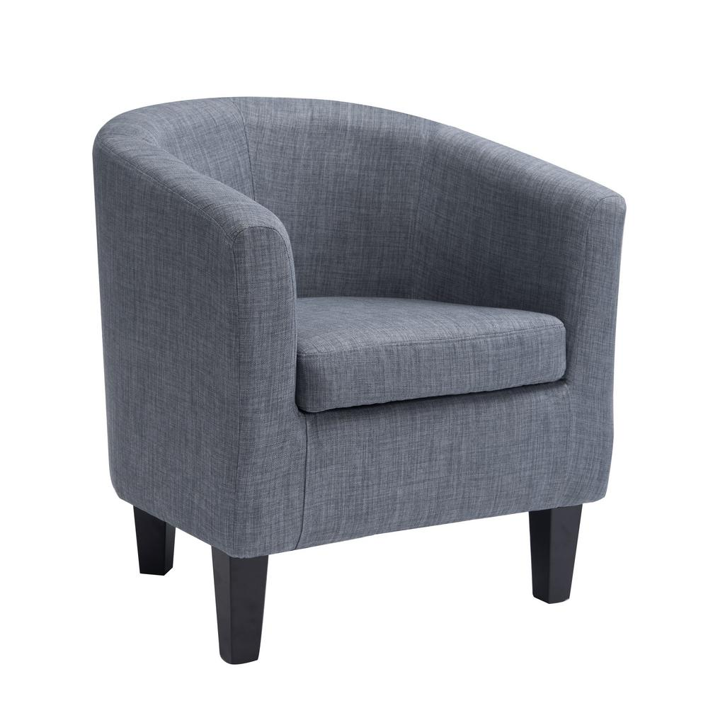 Antonio Blue Grey Fabric Tub Chair