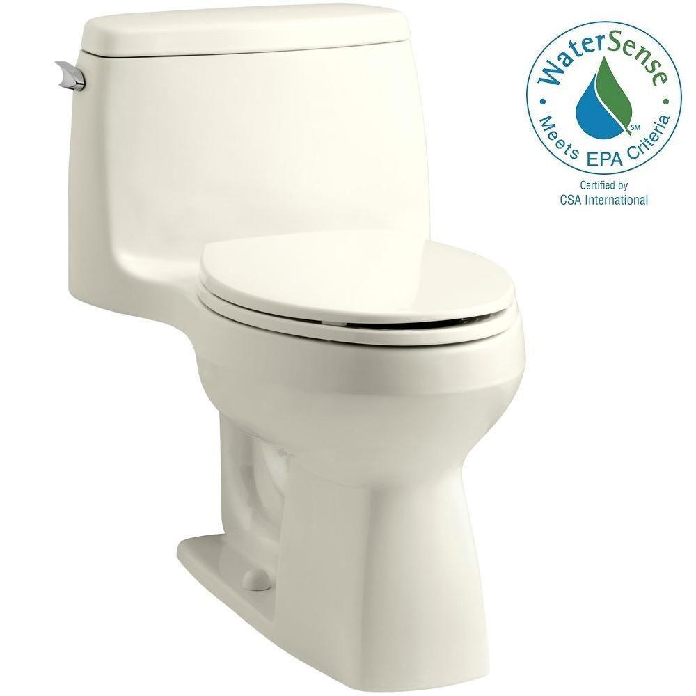 KOHLER Santa Rosa Comfort Height 1-piece 1.28 GPF Single Flush Compact Elongated Toilet with AquaPiston Flush in Biscuit
