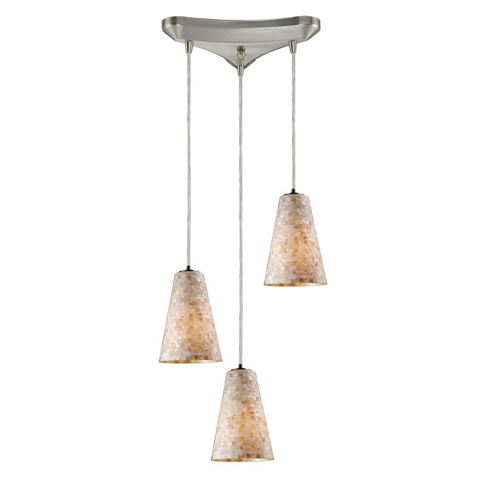 Capri 3-Light Satin Nickel Ceiling Mount Pendant