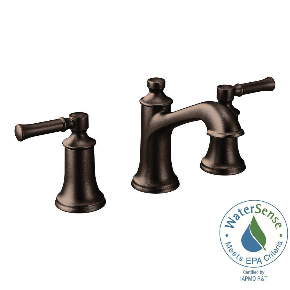 Moen Dartmoor 8 In Widespread 2 Handle Bathroom Faucet In Oil Rubbed Bronze Valve Not Included