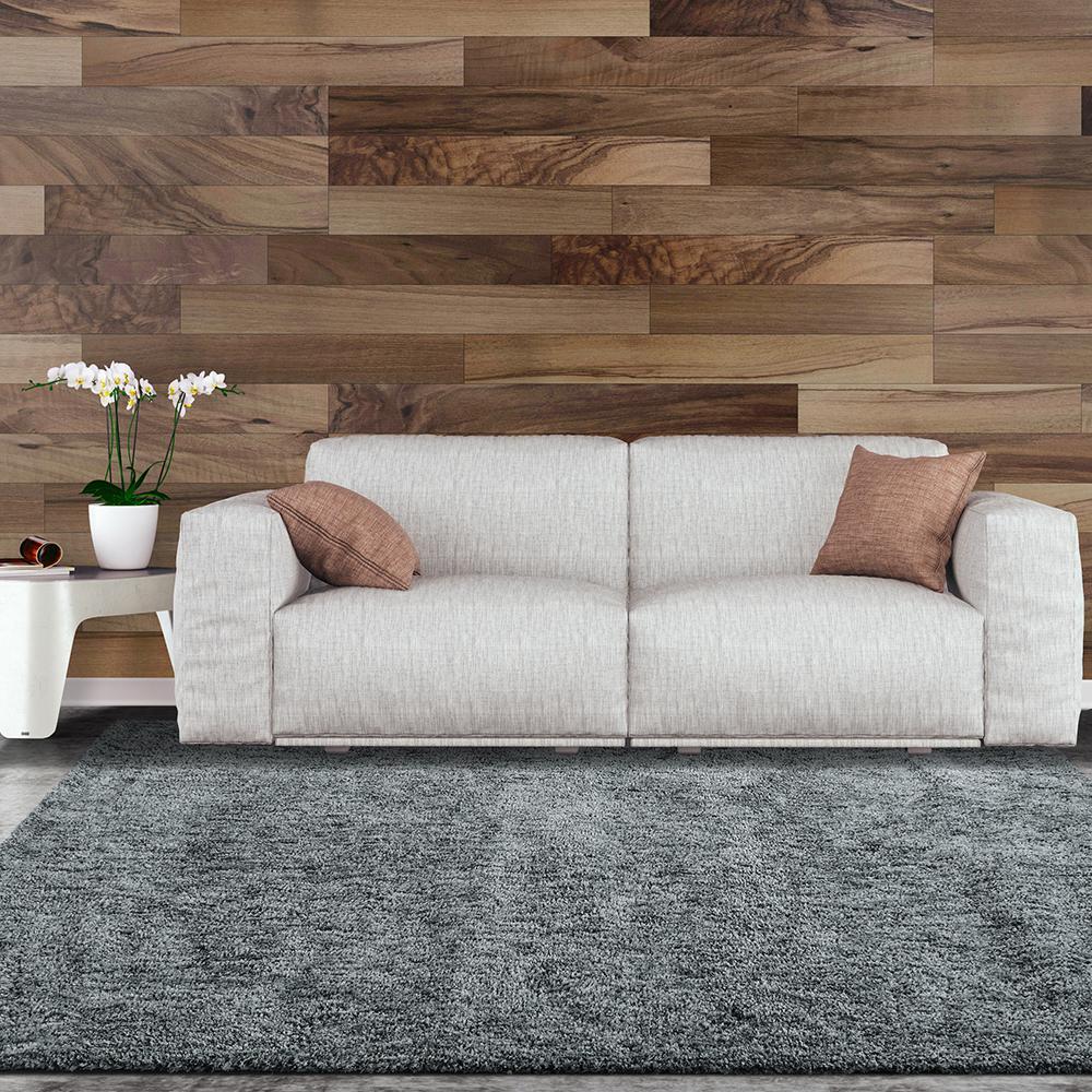Lanart soft touch shag grey 7 ft x 10 ft area rug