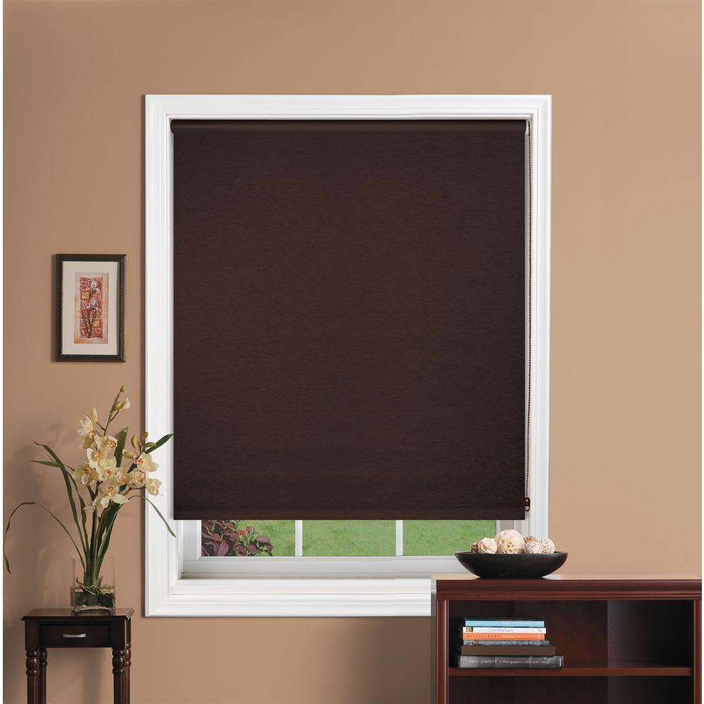 Bali Cut-to-Size Java Blackout Fabric Roller Shade - 17 in. W x 72 in. L