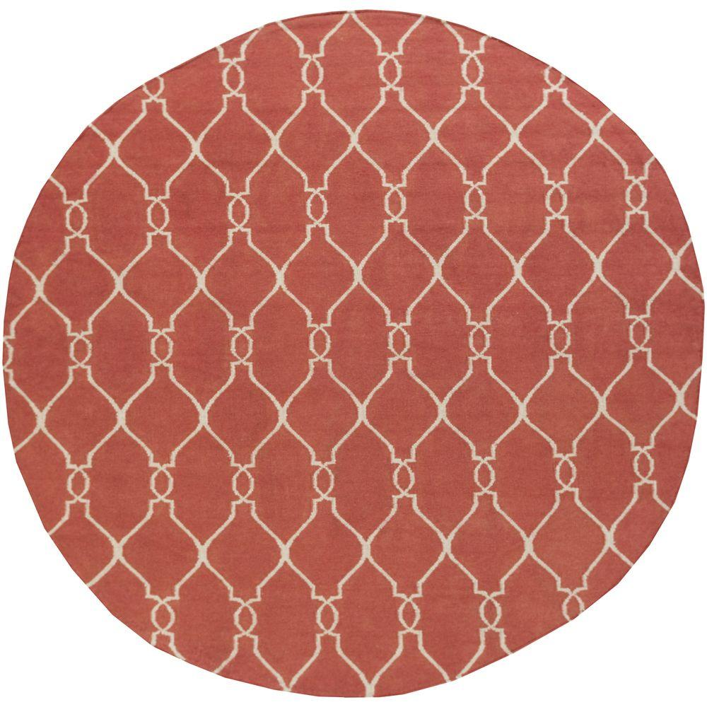 Jill Rosenwald Coral 8 ft. x 8 ft. Flatweave Round Area