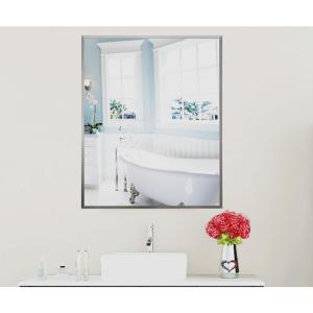 42.625 in. x 30.625 in. Romeo Silver Sheen Vanity Wall Mirror