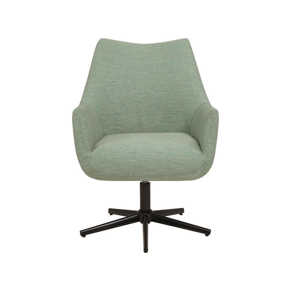 Gunnison Swivel Arm Chair in Green Textured Strie