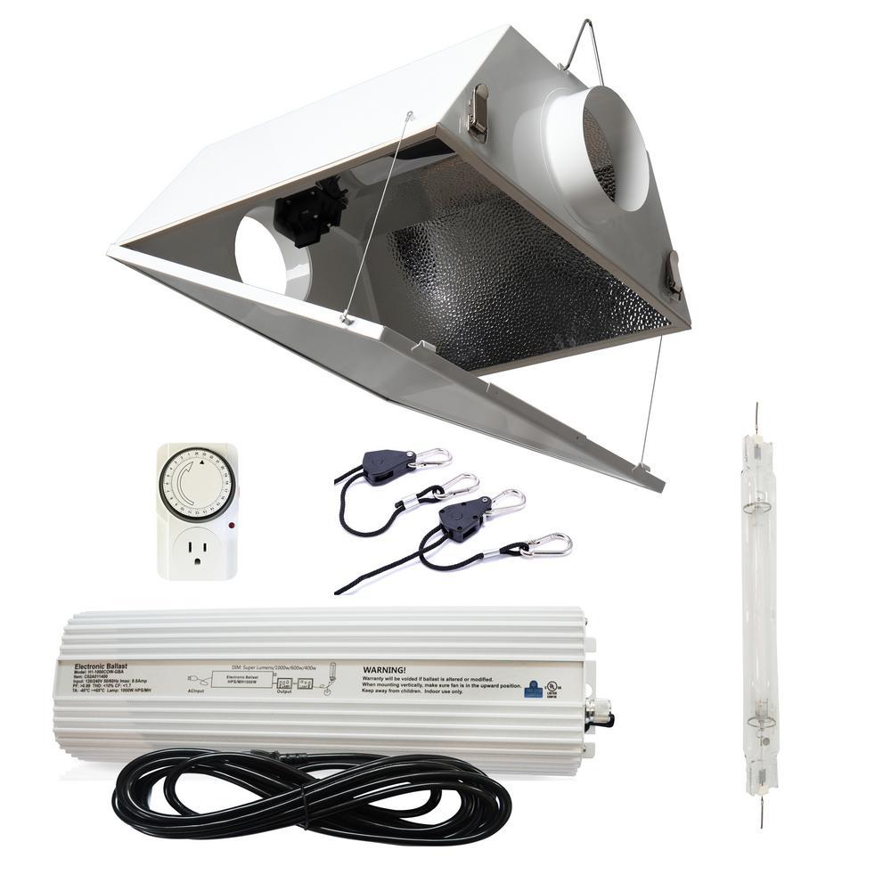 1000-Watt Double Ended HPS 120/240-Volt Grow Light System with DE Large Air Cooled Grow Light Reflector