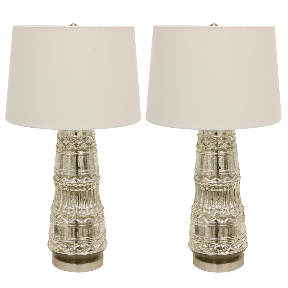 Decor Therapy Embellished Glass 27 5 In Clear Table Lamps With Shade Set Of 2