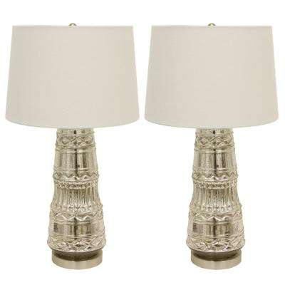 Embellished Glass 27.5 in. Clear Table Lamps with Shade (Set of 2)