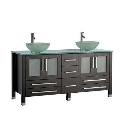 Caen 71 in. W x 20 in. D x 36 in. H Vanity in Espresso with Glass Vanity Top in Glass with Glass Basin