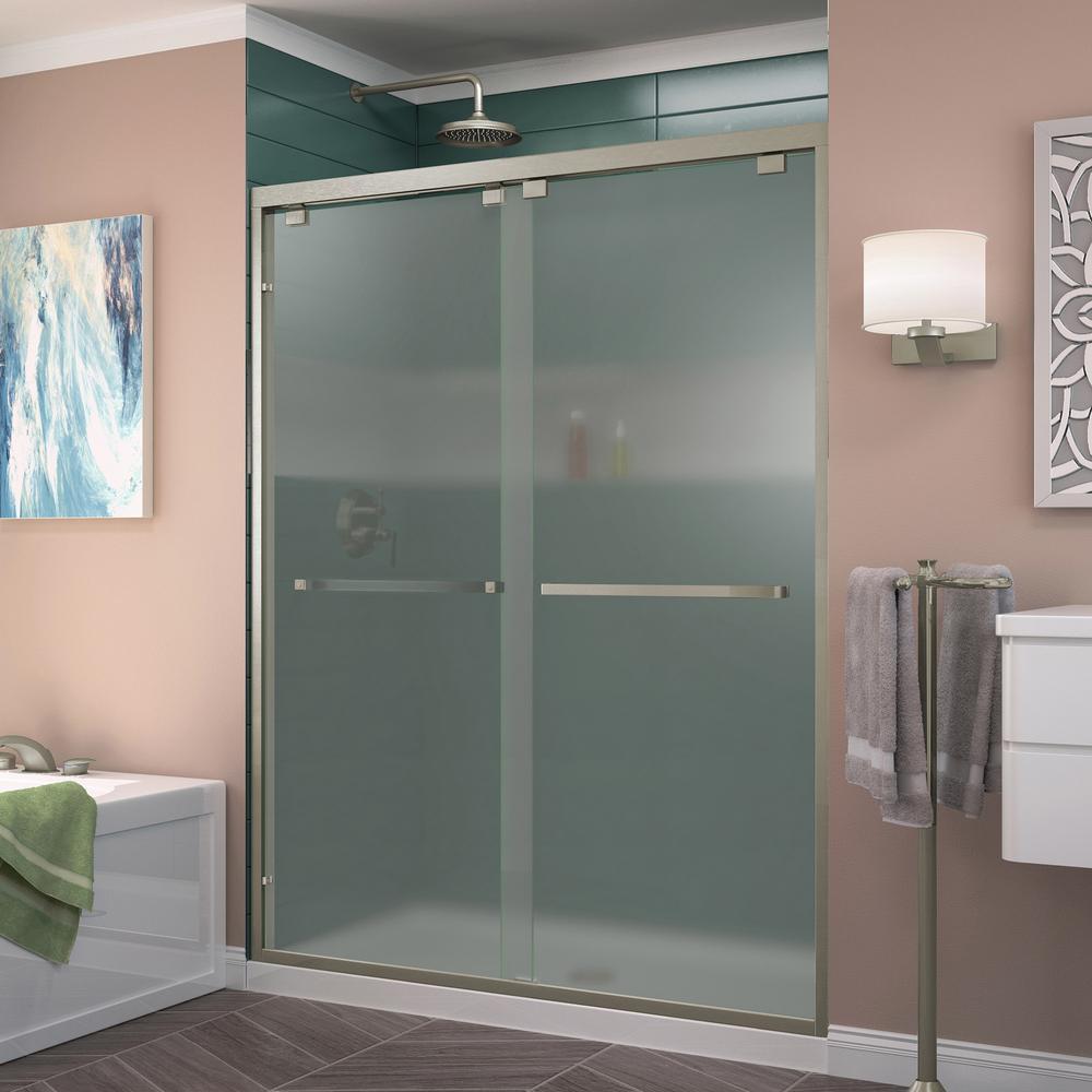 Encore 60 in. x 76 in. Semi-Frameless Sliding Shower Door in Brushed Nickel