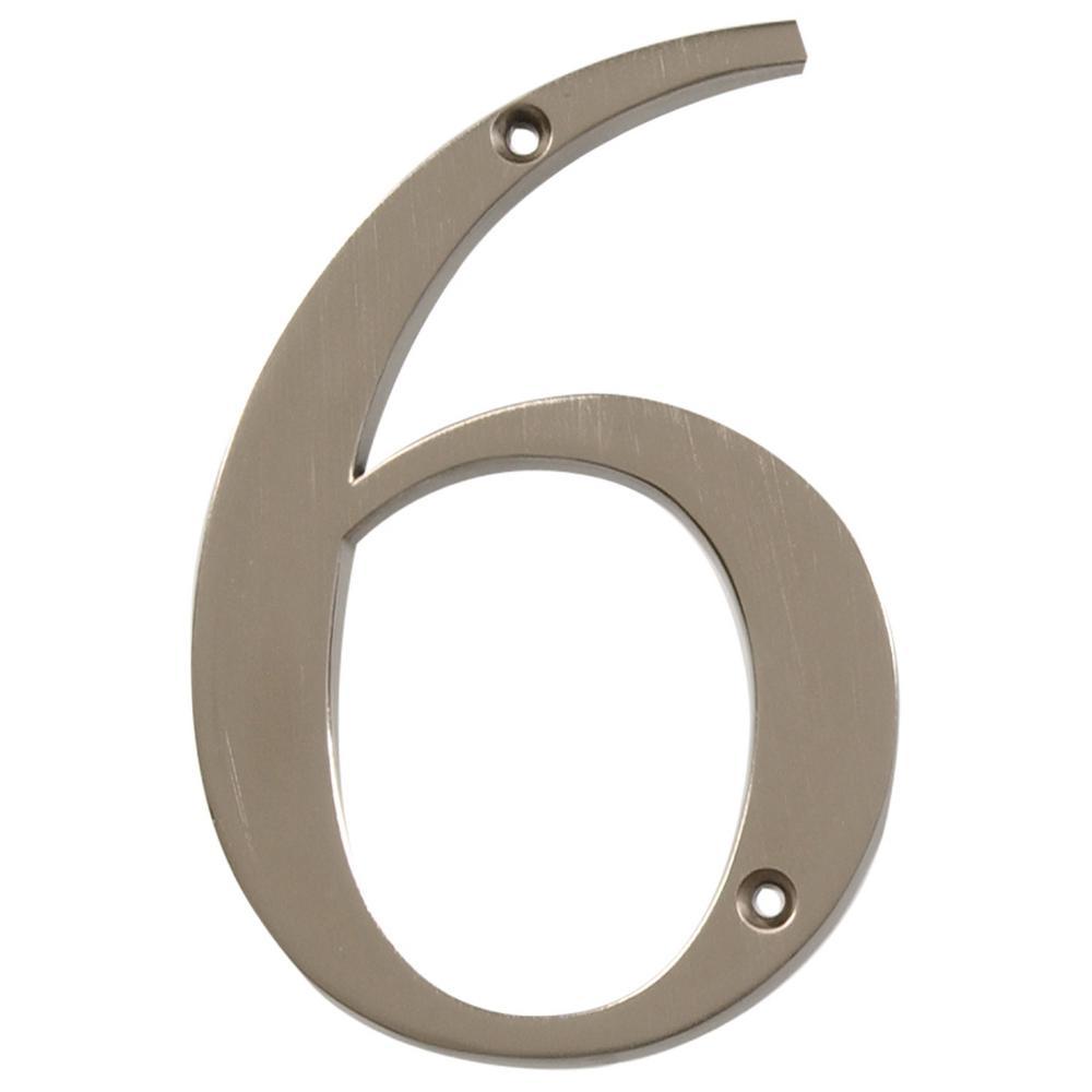 4 in. Flush Mount Brushed Nickel Metal Number 6