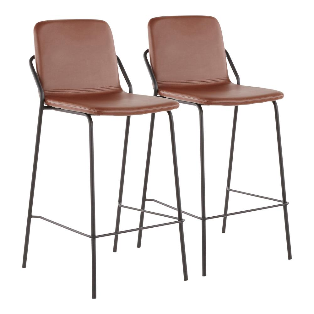 lumisource stefani industrial 25 in brown faux leather counter stool set of 2 b26 stefani bn2. Black Bedroom Furniture Sets. Home Design Ideas
