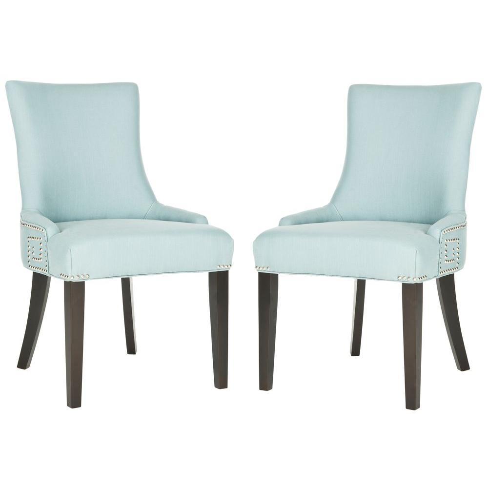 Merveilleux Safavieh Gretchen Light Blue/Espresso Cotton/Linen Side Chair (Set Of  2) MCR4718B SET2   The Home Depot
