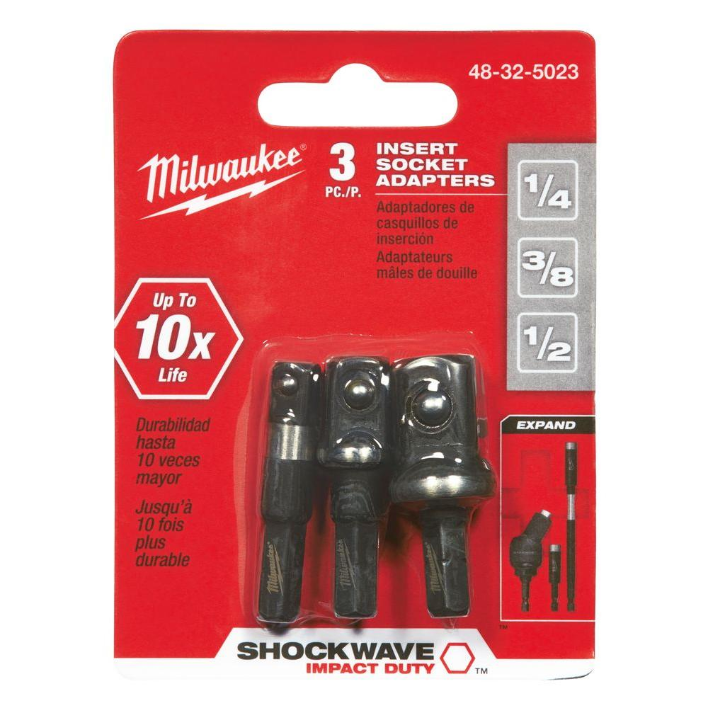 MILWAUKEE Shockwave Socket Adapter 3-Piece Set 48-32-5033 NEW Heimwerker