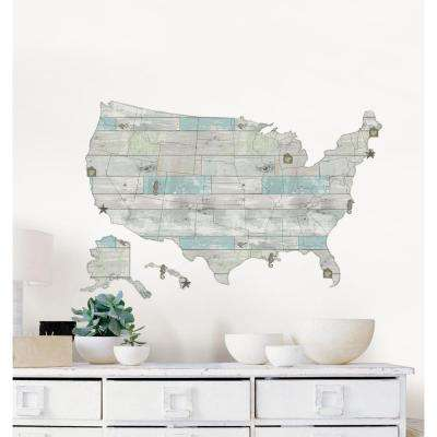24 in. x 36 in. Beach Lover US Map Decal