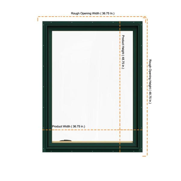 Jeld Wen 36 75 In X 48 75 In W 2500 Series Green Painted Clad Wood Left Handed Casement Window With Bettervue Mesh Screen Thdjw140100166 The Home Depot