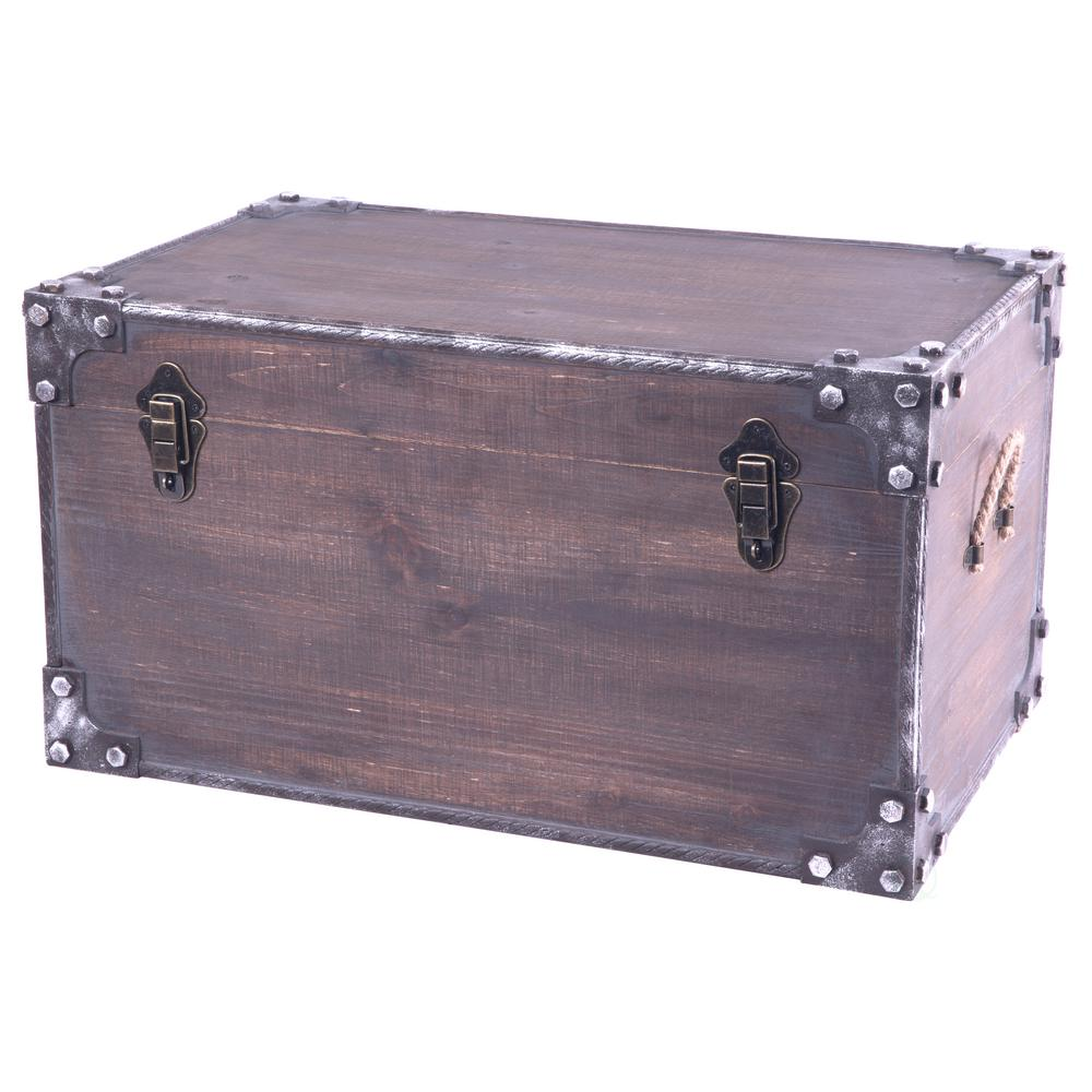 Vintiquewise Distressed Wooden Vintage Industrial Style Decorative Trunk with Lockable Latch