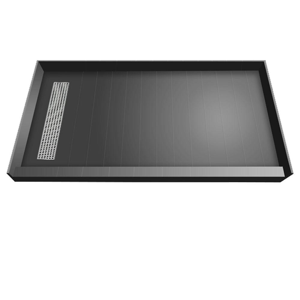 Redi Trench 36 in. x 72 in. Single Threshold Shower Base with Left Drain and Polished Chrome Trench Grate