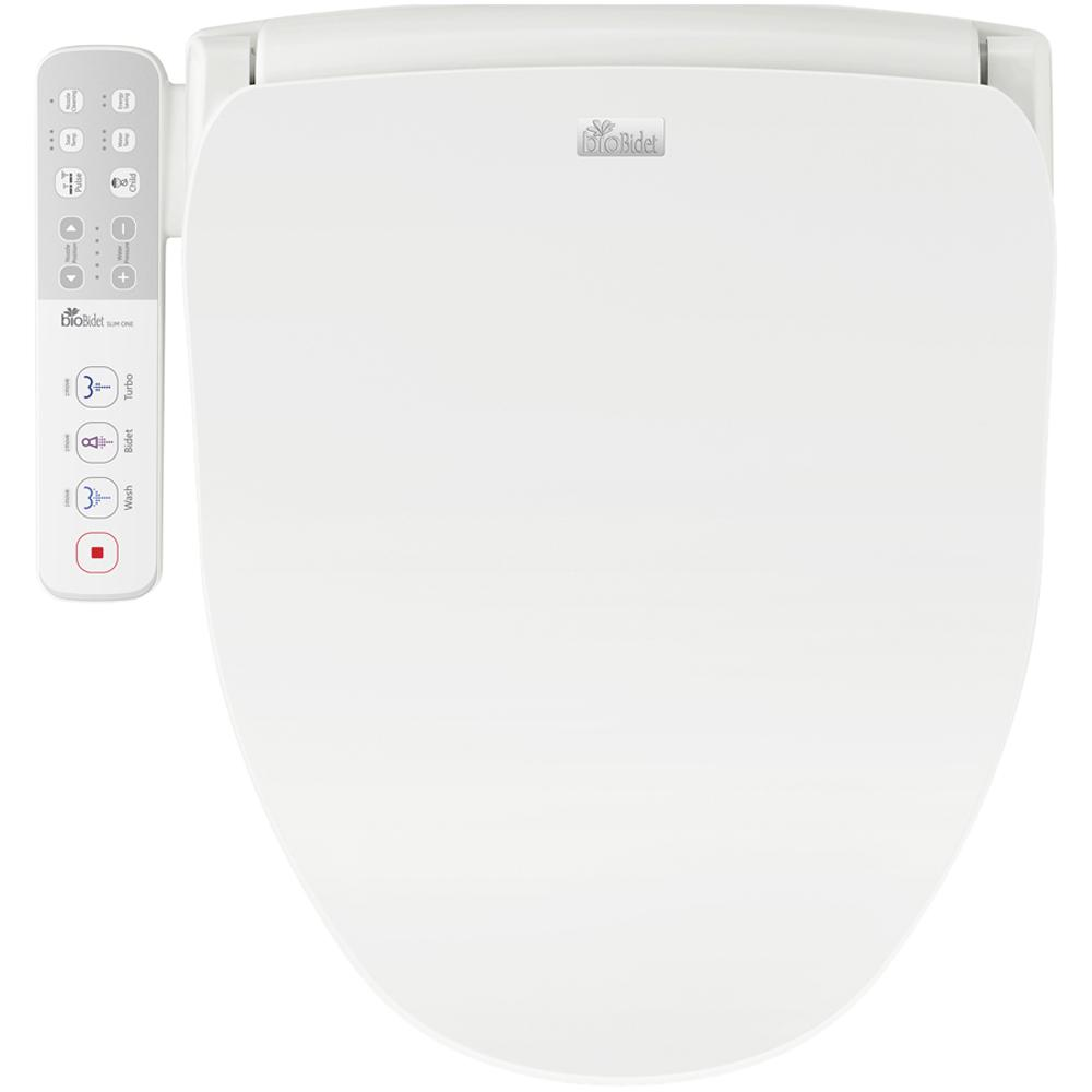 Biobidet Slim Series Electric Smart Bidet Toilet Seat For Elongated Toilets In White With Side Panel Control And Nightlight Slim One The Home Depot