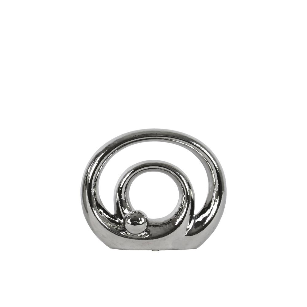 7 in. H Abstract Decorative Sculpture in Gray Polished Chrome Finish