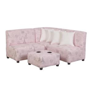 Awesome Jack Juvenile Kids Pink And Gray Upholstered Sectional Sofa Onthecornerstone Fun Painted Chair Ideas Images Onthecornerstoneorg