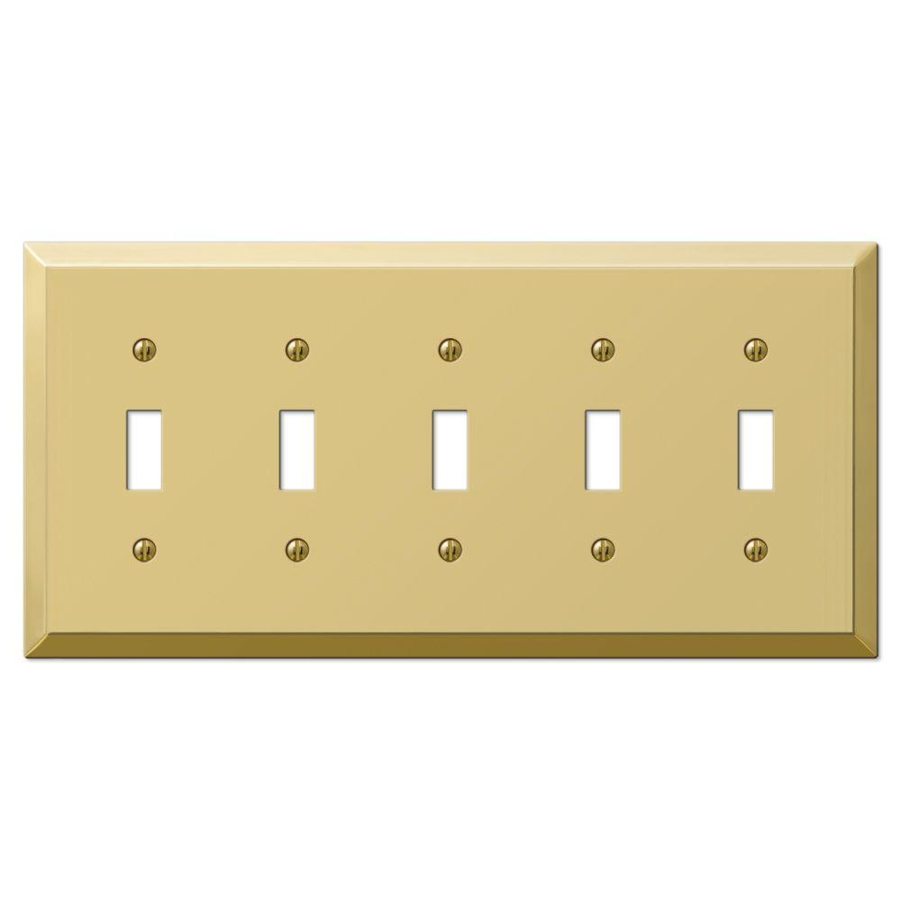 hampton bay century 5 toggle wall plate polished brass
