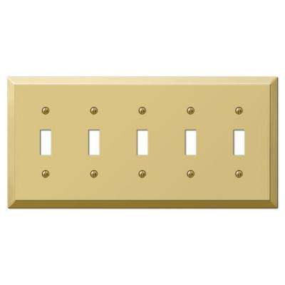 Century 5 Toggle Wall Plate - Polished Brass