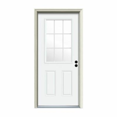 36 in. x 80 in. 9 Lite White Painted Steel Prehung Left-Hand Inswing Back Door w/Brickmould