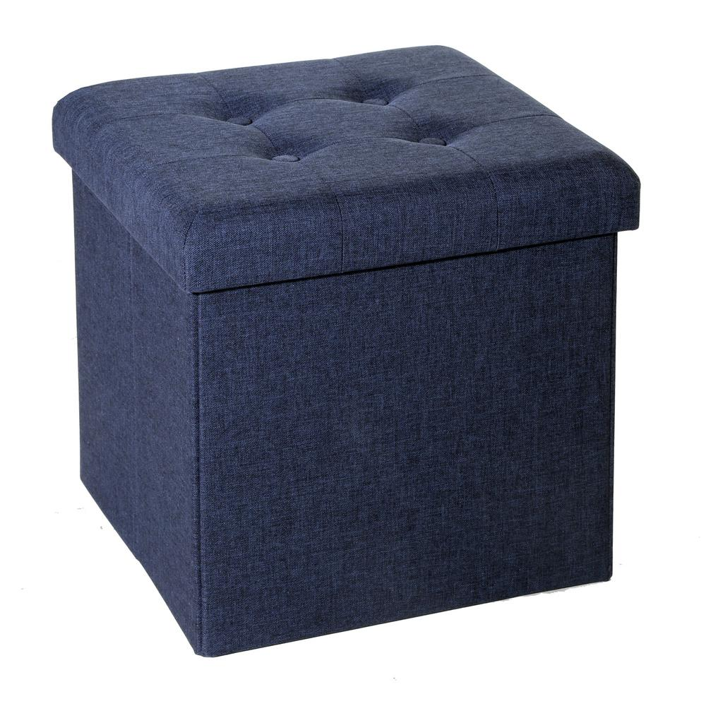 Seville Classics Midnight Blue Foldable Fabric Storage Ottoman With Quilted Top Web352 The Home Depot