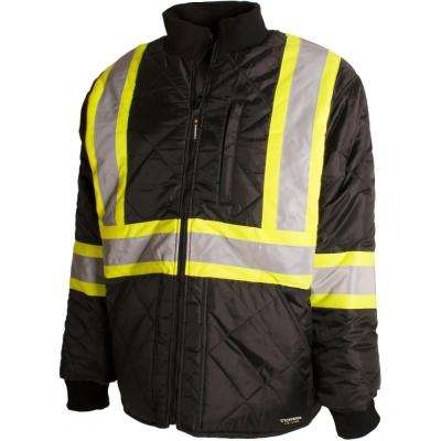 Men's Medium Black High-Visibility Quilted and Lined Reflective Safety Freezer Jacket