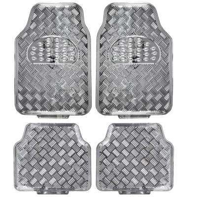 Metallic Vinyl MT-641 Silver Heavy Duty  4-Piece Car Floor Mats