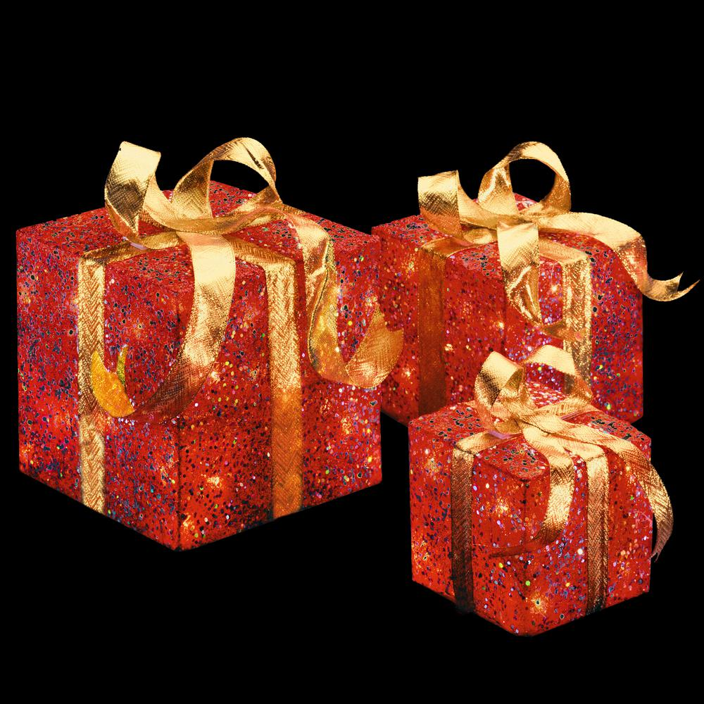National tree company pre lit red sisal gift box for Lit national