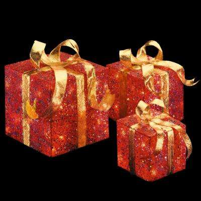 Pre-Lit Red Sisal Gift Box Assortment