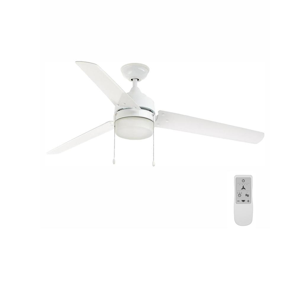 Home Decorators Collection Carrington 60 in. LED White Ceiling Fan with Light and WiFi Remote Control works with Google and Alexa