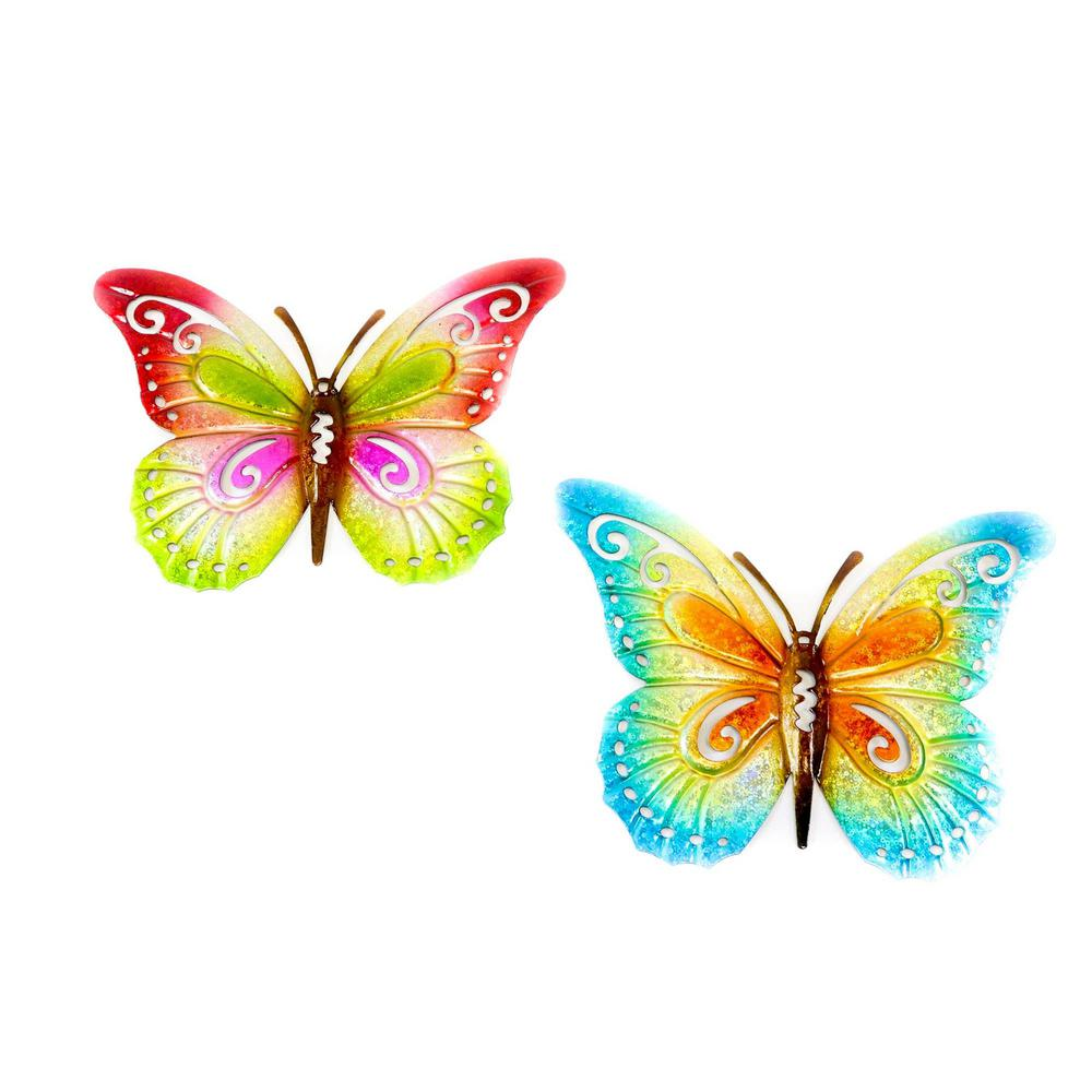 9 In X 7 In 2 Assorted Metal Butterfly Wall Decor