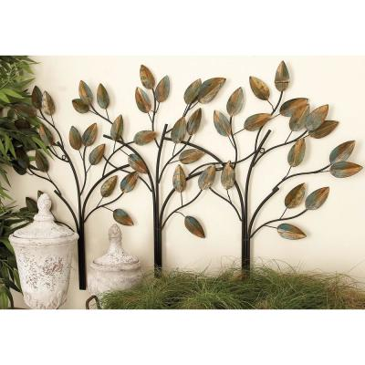 48 in. x 27 in. New Traditional Brown Row-of-Trees Iron Metal Wall Decor