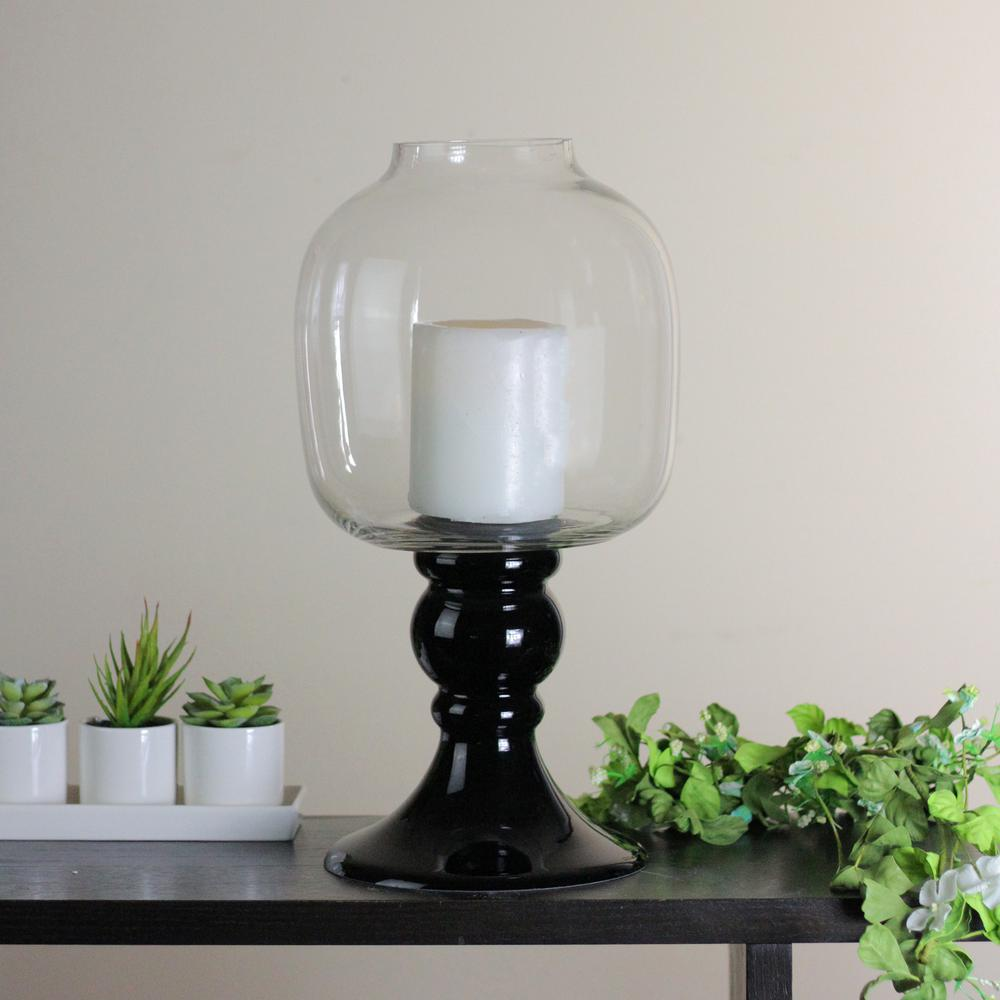 Transpa And Jet Black Gl Pedestal Pillar Candle Holder