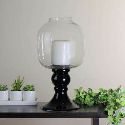 17.75 in. Transparent and Jet Black Glass Pedestal Pillar Candle Holder