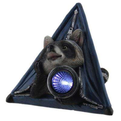 Light Statue Critter Camp Raccoon in Tent LED Solar in Blue