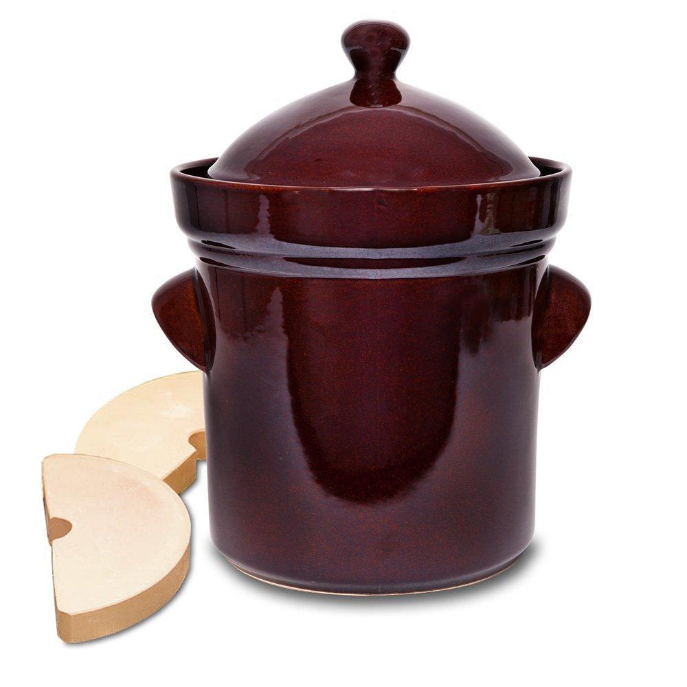 Polish Style 4 Piece Ceramic Burnt Sienna Fermentation Crock with Weights